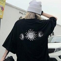 Harajuku manga curta mulher sol e lua imprimir roupas soltas dropshipping rua vintage punk tops roupas plus size