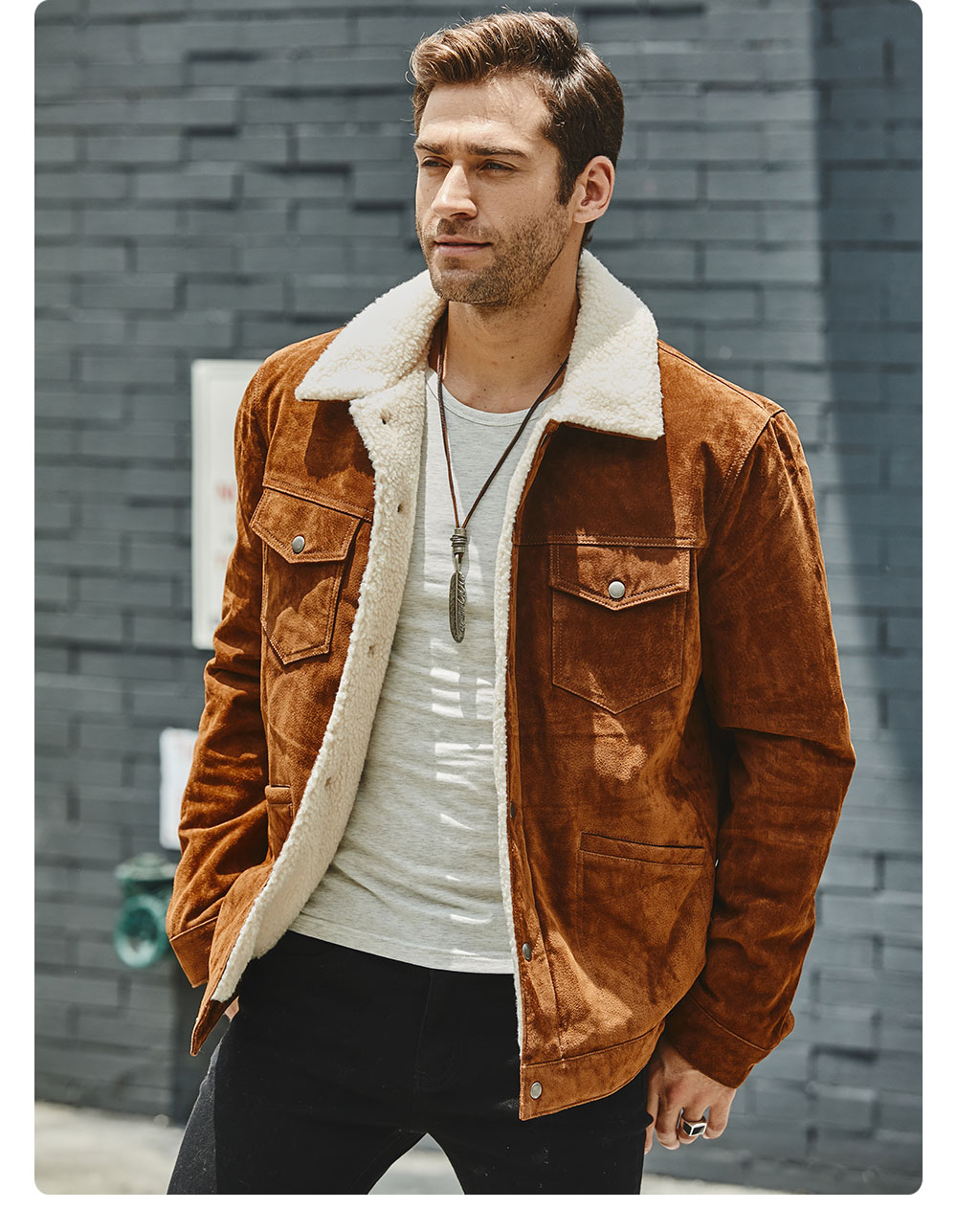 H70a4d1732e8049cc8a33ae941e2086e6q FLAVOR New Men's Real Leather Jacket Genuine Leather With Faux Shearling Warm Coat Men