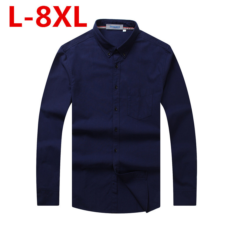 Big Size 8XL 7XL 6XL 5XL Brand Men Casual Shirt Solid Long Sleeve Collar Cotton Linen Nice Color Popular Designs Slim Fit
