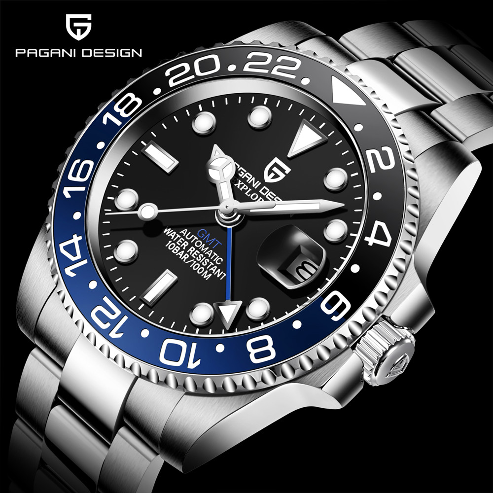 PAGANI DESIGN Brand Men Automatic Watch Relogio Masculino 40mm Sapphire GMT Watch Stainless Steel Waterproof Mechanical Watches
