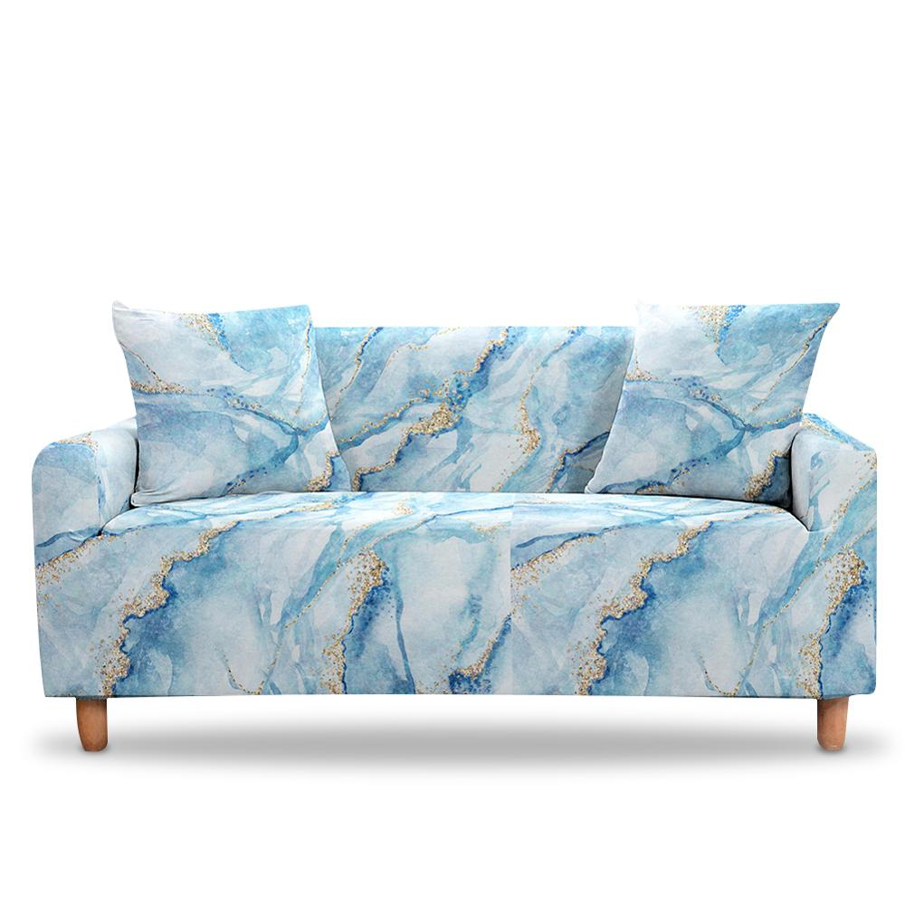 3D Digital Marble Sofa Cover Watercolor Slipcovers Elastic Armchair 3 Seaters Stretch Couch Sofa Bezug Cover