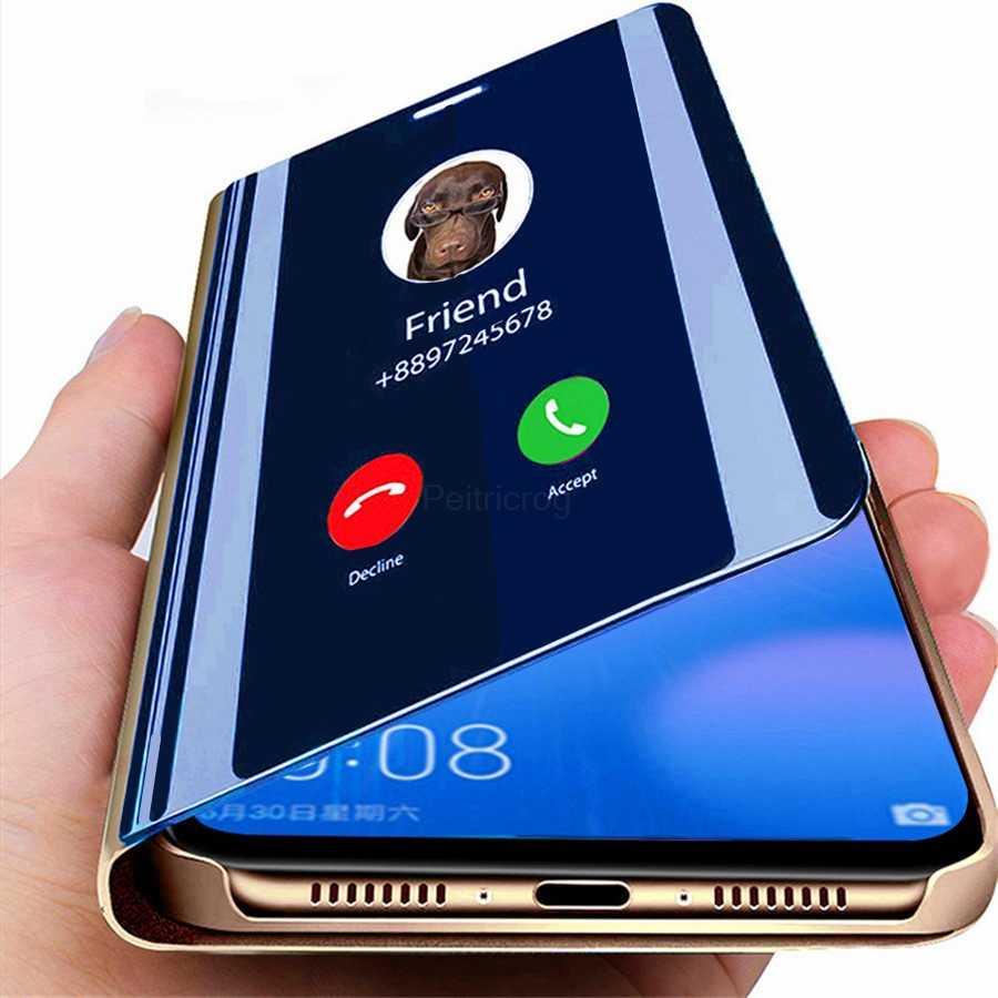 สมาร์ท Mirror Flip Case สำหรับ Samsung Galaxy Note 10 9 8 S10 S9 S8 S11 PLUS S7 A9 A7 A8 2018 A10 A20 A30 A50 A60 A80 A70 A20E ฝาครอบ