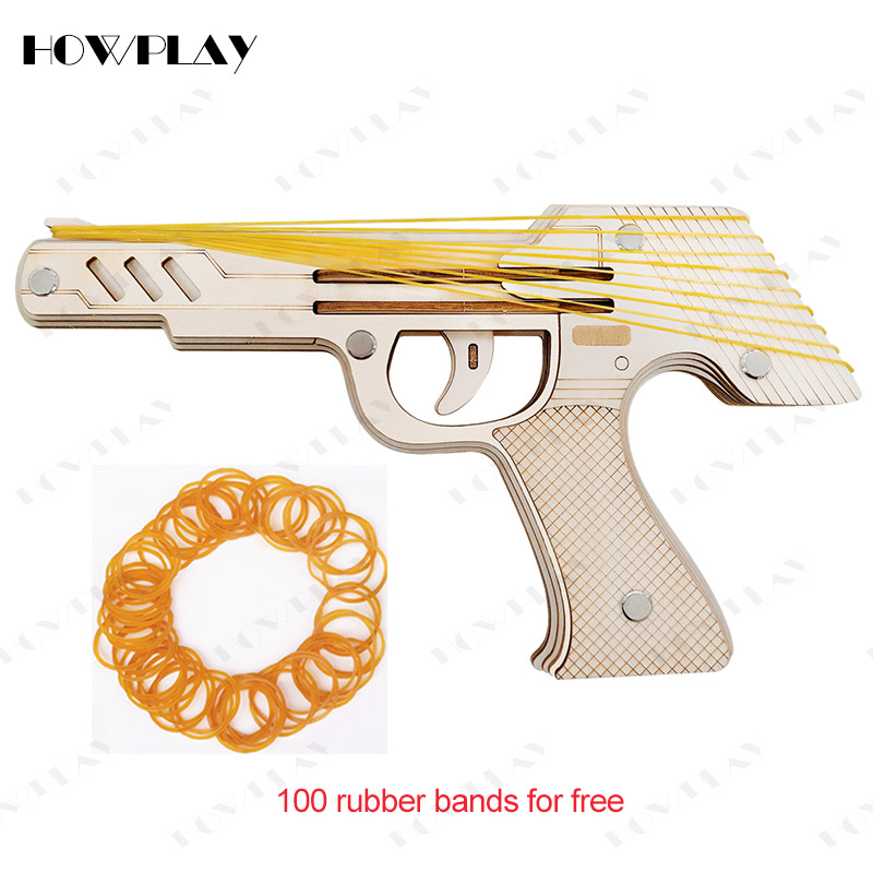 Howplay 9 Bursts Of Wooden Rubber Band Gun Pistol Weapon Assembly Puzzle Model Pistola Armas Gift Toys For Children Family Games