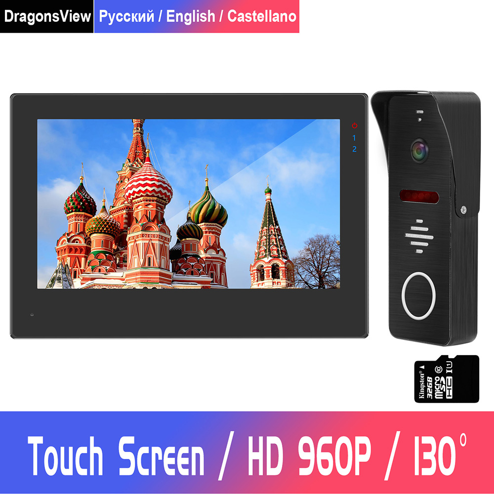 7 Inch Full Touch Screen Video Intercom HD 960P Video Door Phone For Home Intercom Security System  Support Motion Detect Record