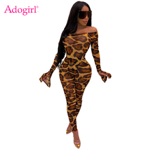 купить Adogirl Leopard Print Women Sexy Two Piece Set Off Shoulder Long Flare Sleeve Bodysuits Top + Pencil Pants Night Club Suits дешево