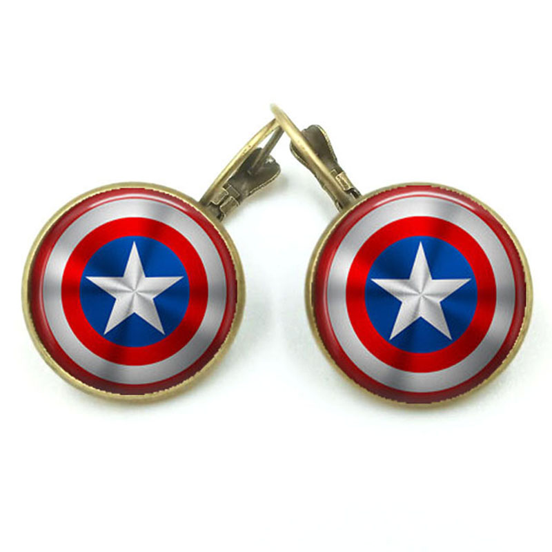 Die UNS Film Captain America <font><b>Avengers</b></font> Alter Messing Schild Glas Dome Stud Ohrring image