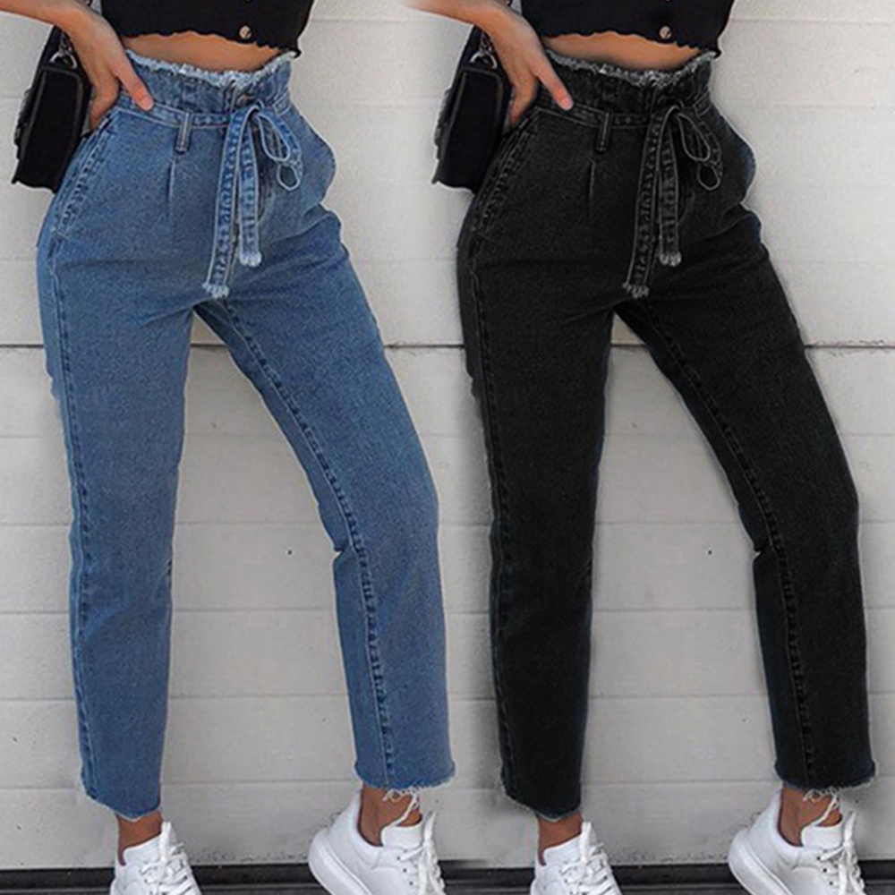 Women Vintage Jeans High Waist Stretch Skinny Denim Female Tassel Pencil Pant Ankle-Length Slim Trouser Zipper Pants