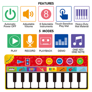 Image 4 - 148*60cm Big Size Music Piano Carpets & 8 Instruments Guitar Accordion Violin Sounds  Musical Play Mat Educational Toys for Kids