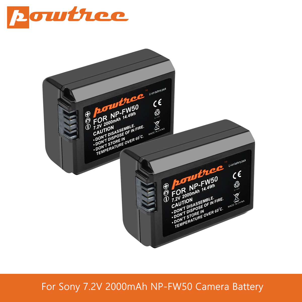 Powtree For <font><b>Sony</b></font> 7.2V 2000mAh NP-FW50 NPFW50 NP FW50 Camera Battery For <font><b>Alpha</b></font> 6500 6300 6000 <font><b>5000</b></font> 3000 a7R a7S a7S II a7II L70 image