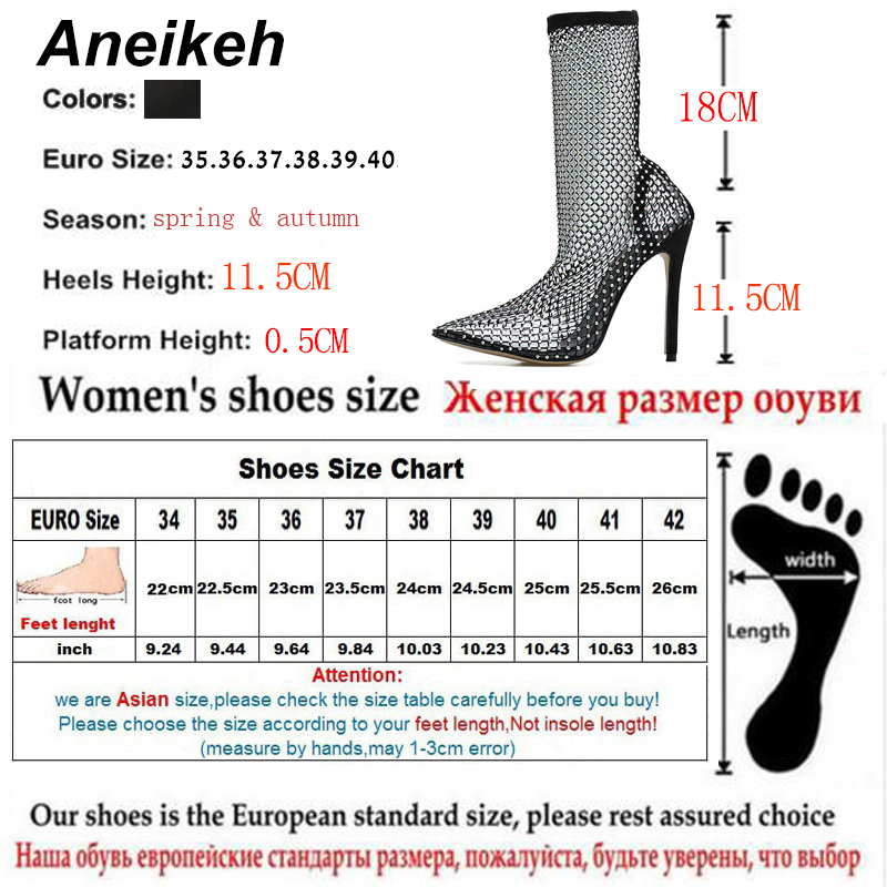 Aneikeh Pumps-Shoes Stripper Crystal-Mesh Pointed-End Fetish Bling High-Heel Sexy Woman