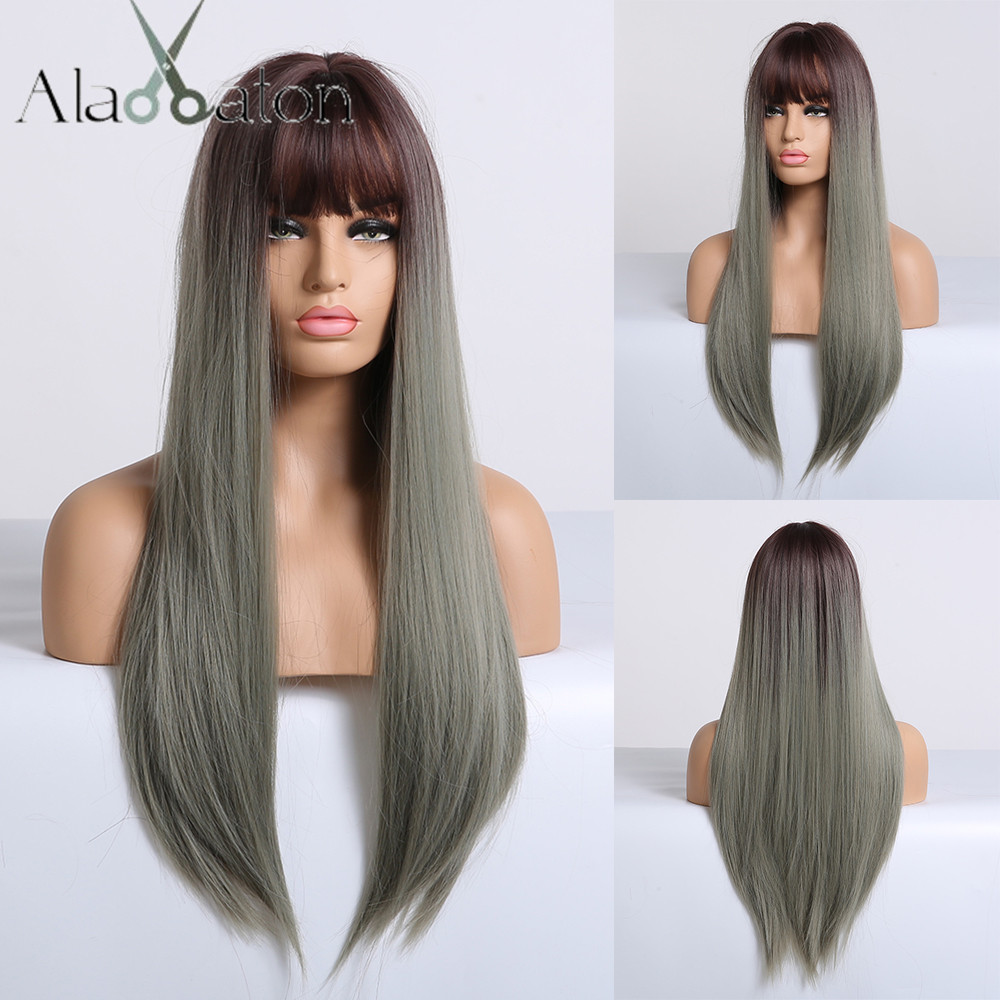 ALAN EATON Long Straight Synthetic Wig With Bangs Ombre Dark Brown Green Ash Wigs For Black Women Heat Resistant Cosplay Wigs