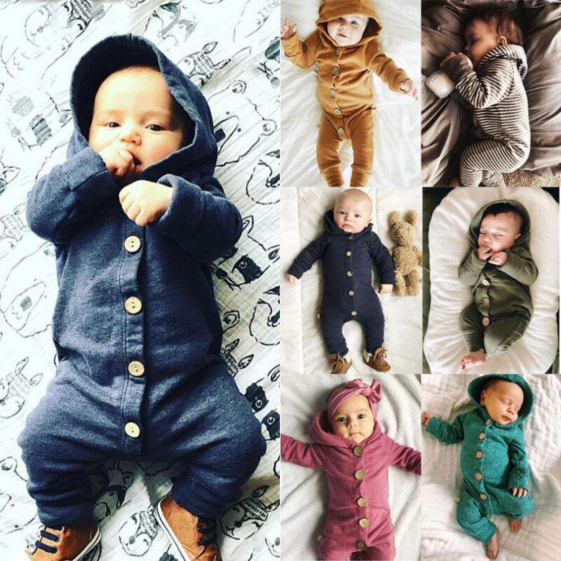 Winter Infant Baby Boy Girl Cotton Hooded Romper Jumpsuit Clothes Outfit