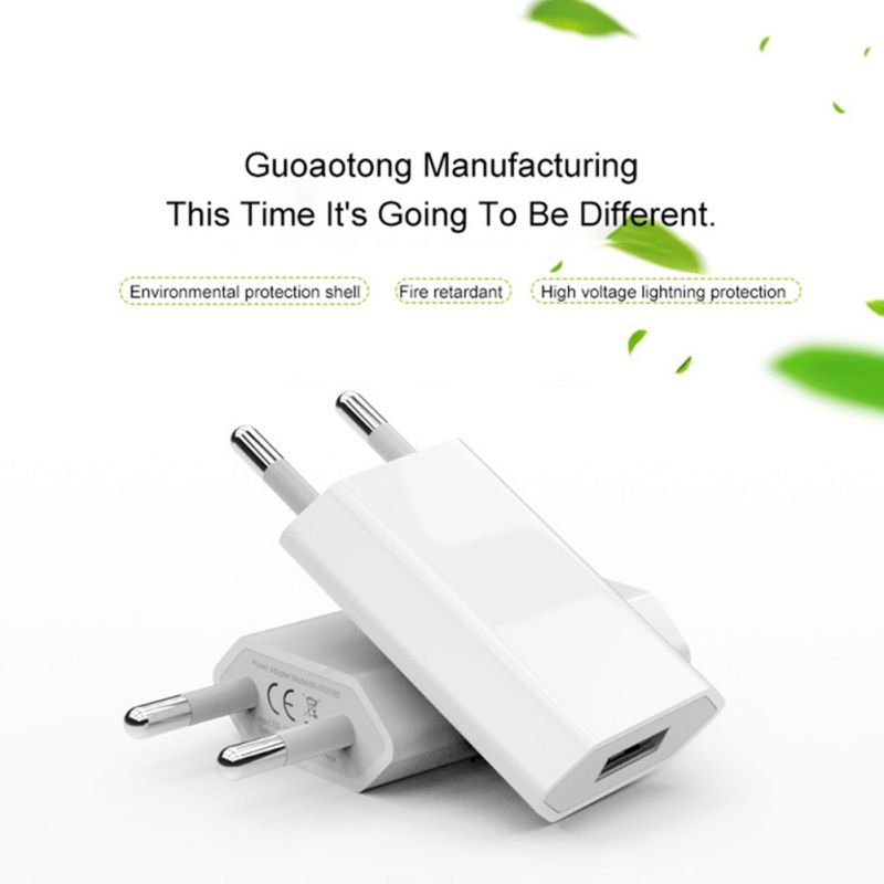 White Color EU Plug Power Adapter USB Charger Universal Phone Wall Charger 5A Charging Head No Cable For IPhone Huawei Drop - 3