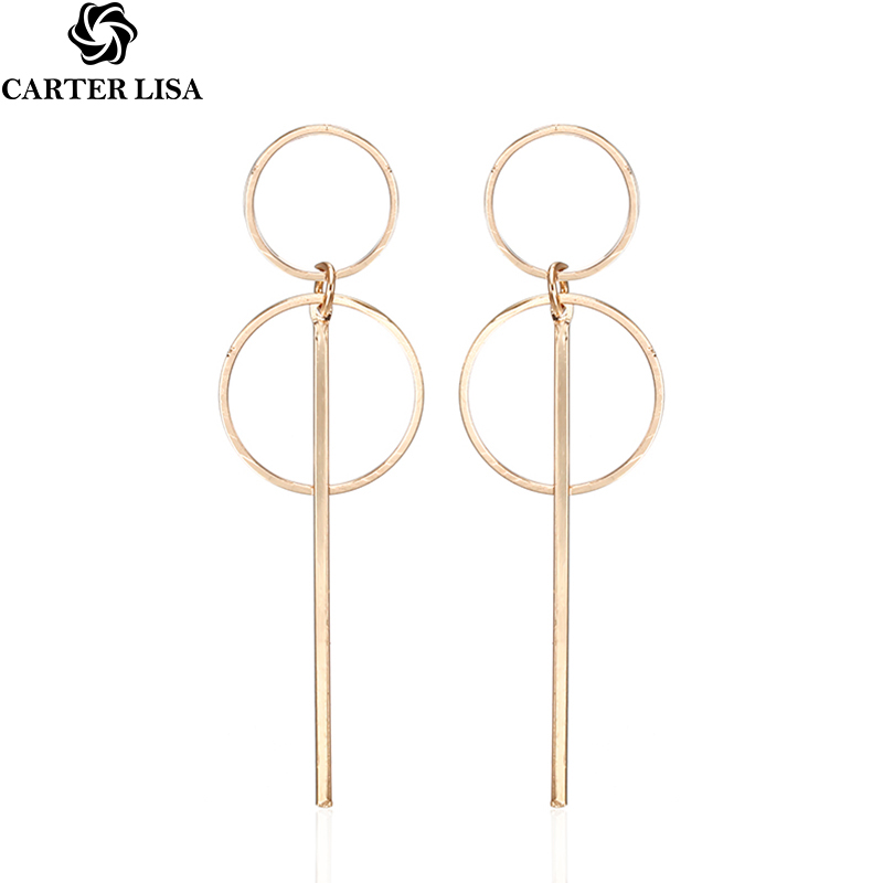 CARTER LISA Fashion Elegant Geometric Round Circle Hoop Earrings Double Hollow Circle Fashion Earrings For Women Exquisite Gift