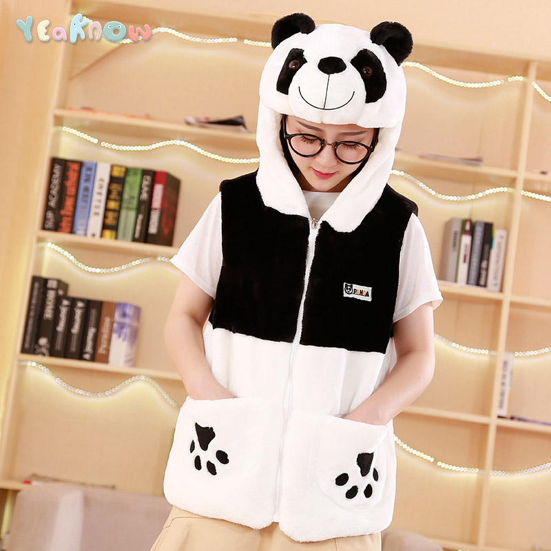 Yeaknow Girl Kids Panda Winter Warm Plush Hoodie Vest Women Soft Clothes Hooded Jacket Outerwear Veste Femme Chaqueta De Mujer