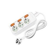 เครือข่ายกรอง EU Plug Power Supply SOCKET SWITCH BOARD ต่อไฟฟ้าสายไฟ Surge Protector สำหรับ Home Office