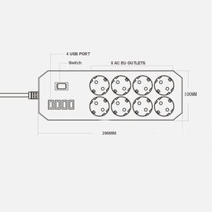 Image 4 - Несколько Мощность полосы Стабилизатор напряжения 8 розетки ЕС розетка с USB Зарядное устройство 1,8 м кабель удлинитель для компьютера ТВ смартфон