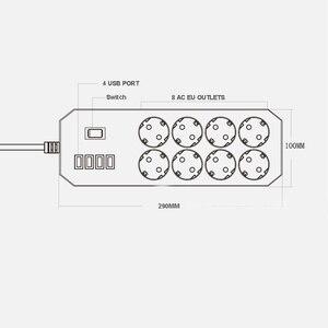 Image 4 - Mehrere Power Streifen Surge Protector 8 AC Outlets EU Steckdose mit USB Ladegerät 1,8 M Verlängerung Kabel für Computer TV Smartphone
