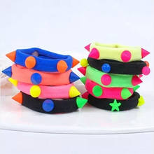 Mélanger les couleurs bébé filles enfants enfants élastiques cheveux cravates bandes corde porte-queue de cheval bandeau Scrunchie coiffure(China)