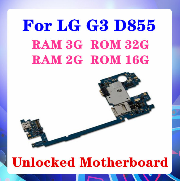 100% מקורי ed עבור LG G3 D855 RAM 2G/3GLogic לוחות עבור LG G3 D855 האם עם אנדרואיד מערכת 16gb / 32gb
