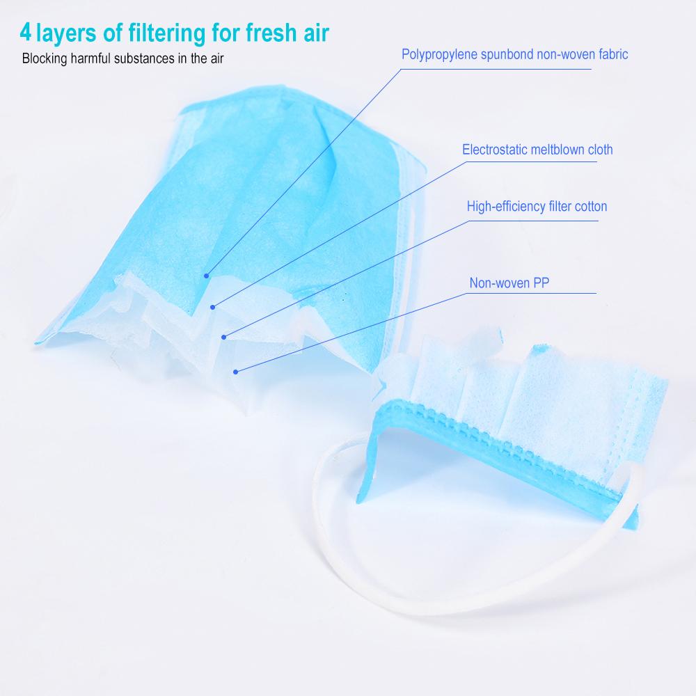 4-Layers Disposable face Masks 5/10/50Pcs Anti Flu Mouth Face ...