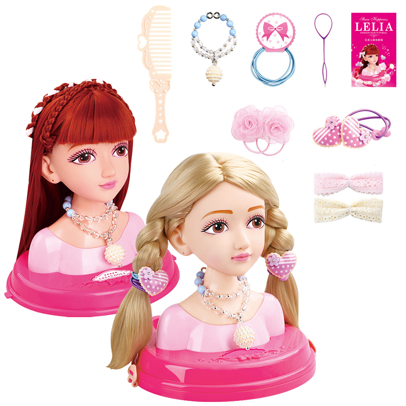 Fashion Hairstyle Kids Makeup Beauty Toys For Children Stylist Half Body Doll Long Hair Head Pretend Play Toys Girls Xmas Gift