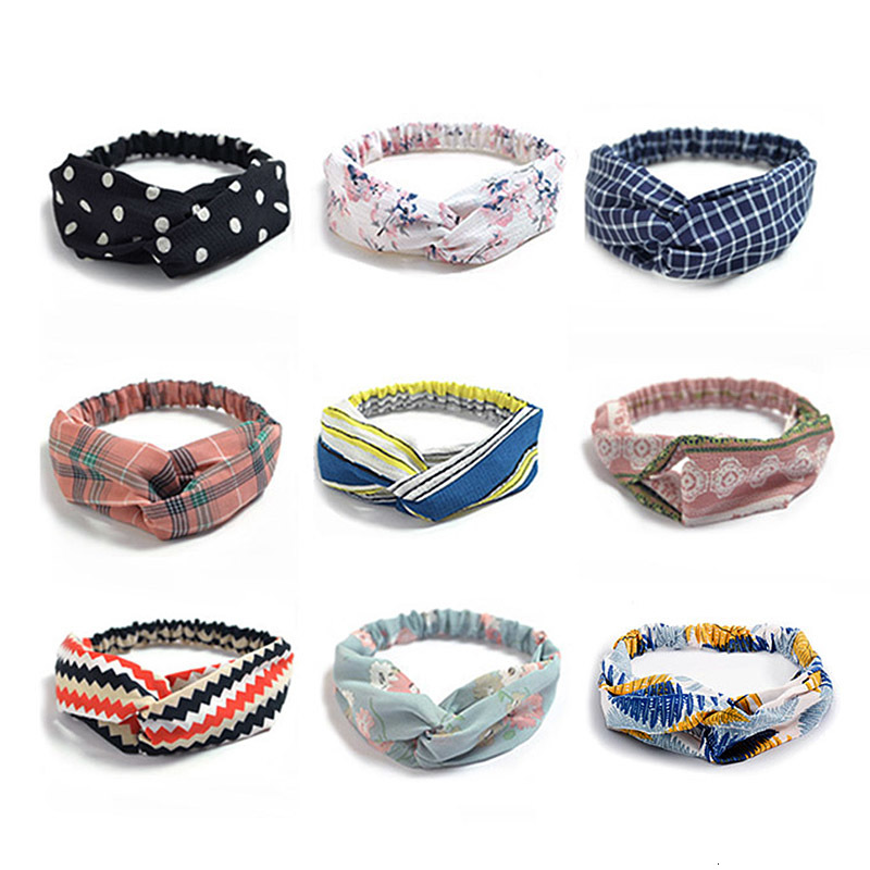 Fashion Headbands Women Hair Accessories Korean Chiffon Wide Side Cross Knot Elastic Soft Head Bands Jewelry Female Sport Tiara