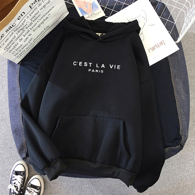 Winter Letter Print C'EST LA VIE Hoodie Women Man Hoodies Basic Sweatshirt Cool Hoody Female Winter Clothes Young Student  Kpop 10