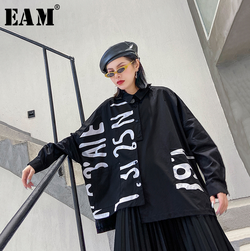 [EAM] Women Letter Printed Asymmetrical Big Size Blouse New Lapel Long Sleeve Loose Fit Shirt Fashion Spring Autumn 2020 1R430