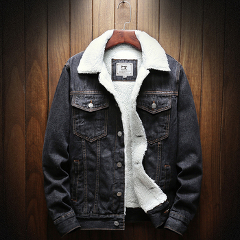 2019 Winter New Thick Warm Fashion Boutique Solid Color Men's Casual Denim Jacket Male Wool Denim Coat Large Size XS-5XL 1