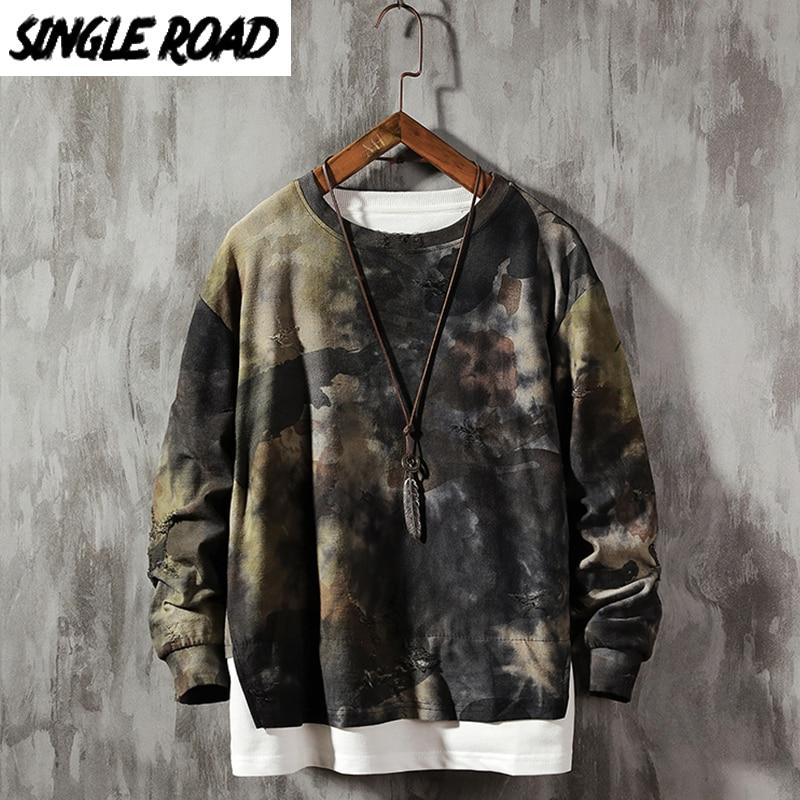 SingleRoad Crewneck Sweatshirt Men 2020 Camo Patchwork Hip Hop Japanes