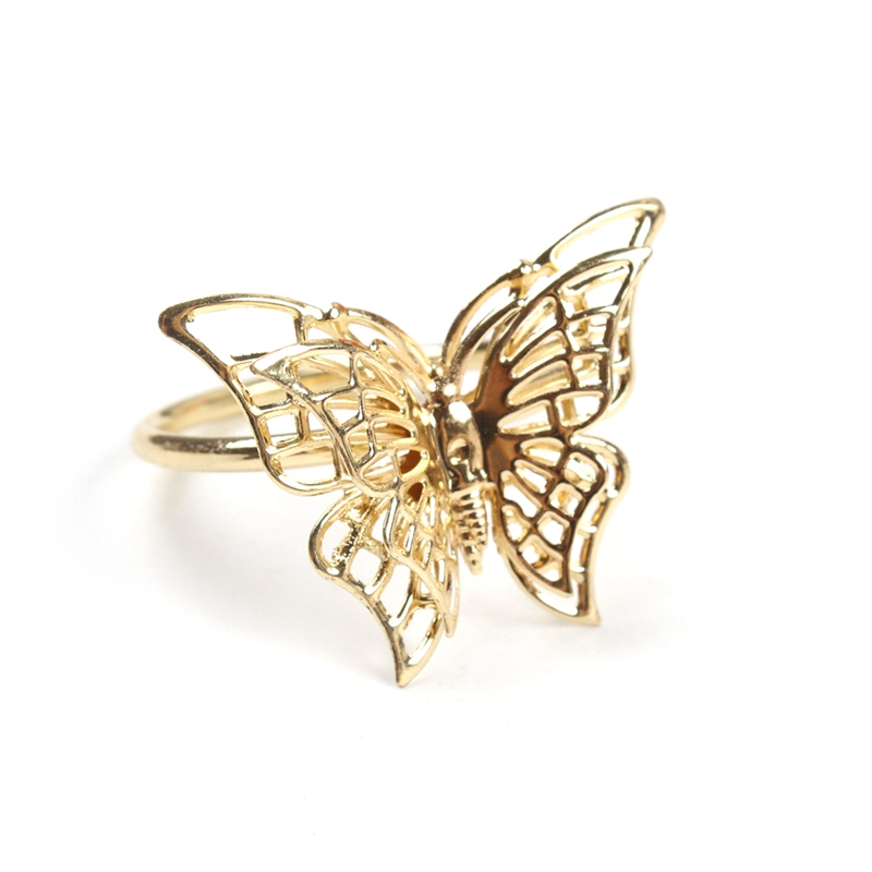 6Pcs Creative Golden Butterfly Napkin Ring Napkin Buckle Restaurant Napkin Ring Plating Towel Buckle Hotel Table Decoration