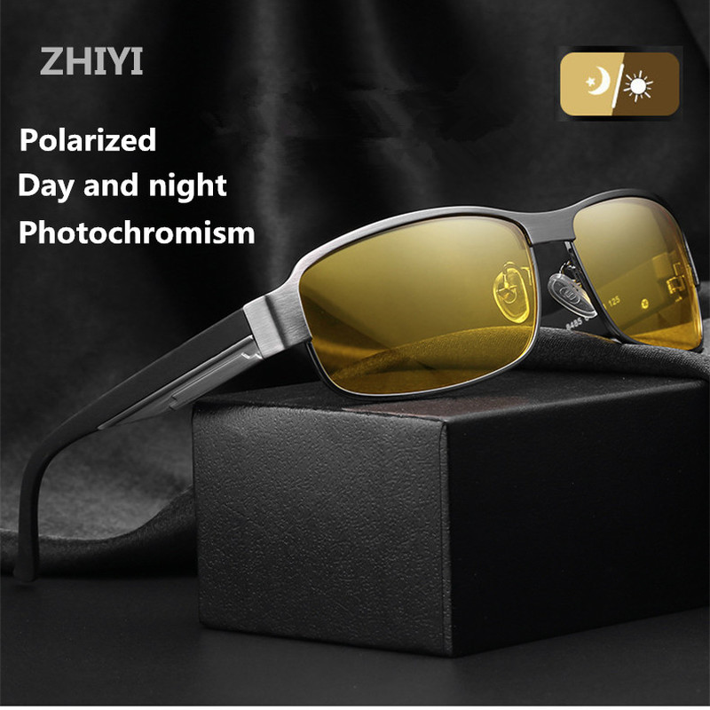 ZHIYI Brand Night Vision Goggles Day And Night Driving Glasses Men Vintage Aluminum Polarized Photochromic Sunglasses UV400