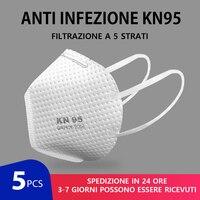 5 warstw KN95 maska 95% Meltblown filtr tkaninowy Anti PM2.5 zanieczyszczenia cząstek stałych ochronne Respirator bezpieczeństwa samo jak KF94 FFP2