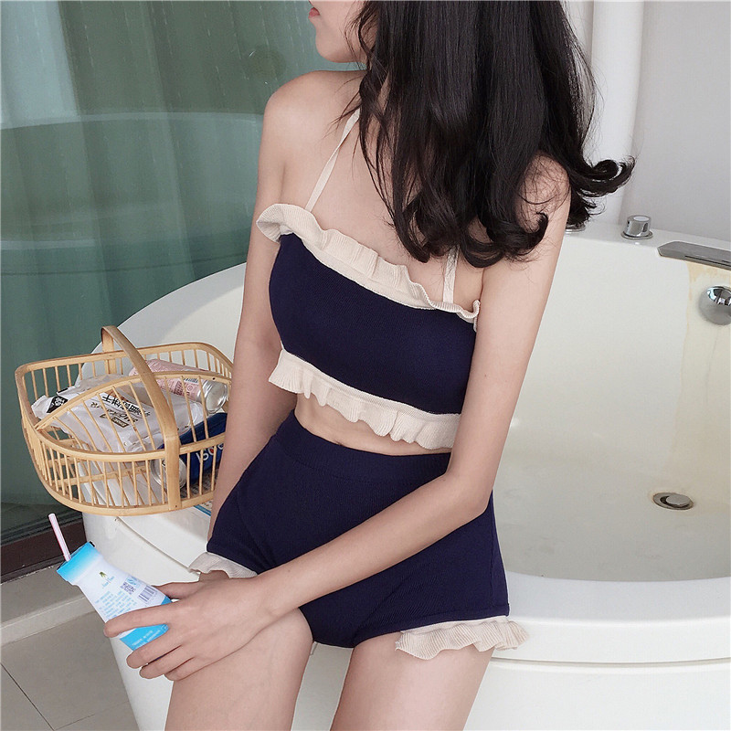 Women's Summer Sexy Thread Knitted Joint Flounced Vest With Chest Pad Students Anti-Exposure Bathing Suit Two-Piece Set Fashion