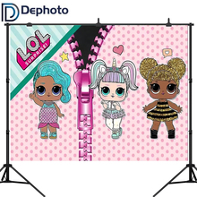 Dephoto Pink Girl Photography Backdrop 1st Birthday Party Baby Shower Newborn Dolls Background for Decoration