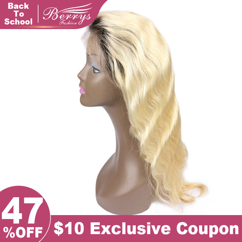 Body-Wave Human-Hair Full-Lace-Wig Blonde-Color Fashion with Black Hair-Roots 12-24 Berrys