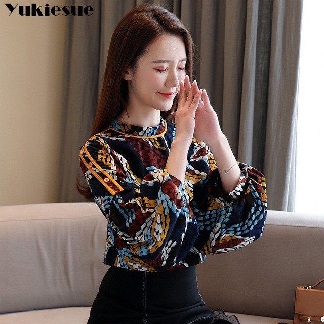 2020 summer long sleeve women's shirt blouse for women blusas womens tops and blouses printed shirts ladie's top plus size 2