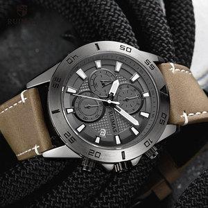 Image 5 - RUIMAS Fashion Quartz Watches Men Luxury Top Brand Chronograph Watch Man Leather Army Sports Wristwatch Relogios Masculino