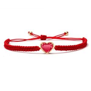 Красный Циркон Кристалл Медь персик любовь браслет для женщин и мужчин 2019 Новая мода Красный Розовый Синий Серый Плетеные Браслеты подарок