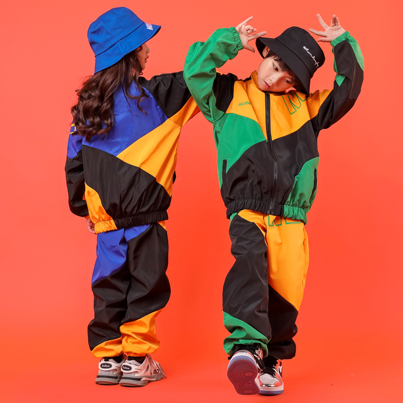 Kid Cool Hip Hop Clothing Pockets High Neck Jacket Top Coat Running Casual Jogger Pants Girls Boys Jazz Dance Costume Clothes