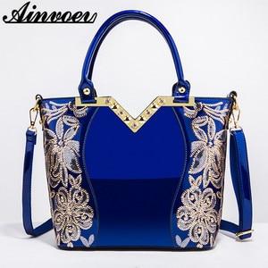 Image 1 - Ainvoev 핸드백 여자 수 놓은 광택 숄더 가방 지갑 여성 럭셔리 핸드백 여자 옻칠 PU 가죽 가방 여성을위한