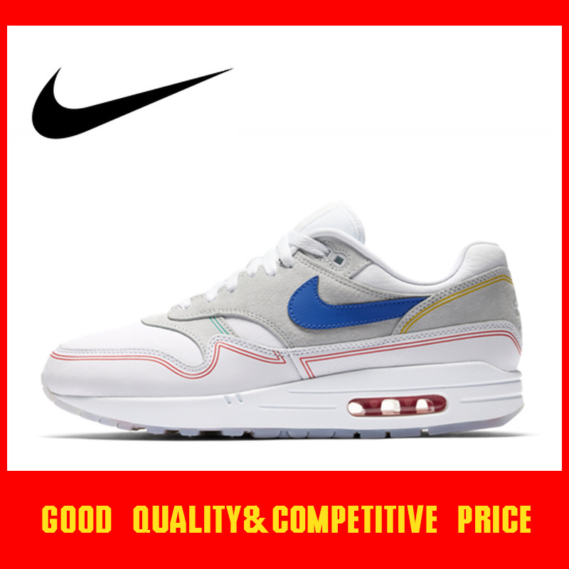Original Authentic Nike Air Max 1 Pompidou Women's Running Shoes Classic Sports Shoes Comfortable And Breathable 2019 New AV3735