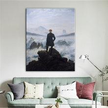 Wanderer üzerinde deniz sis tuval boyama ünlü sanat posterler ve baskılar Cuadros duvar sanatı resimleri için oturma odası ev dekor
