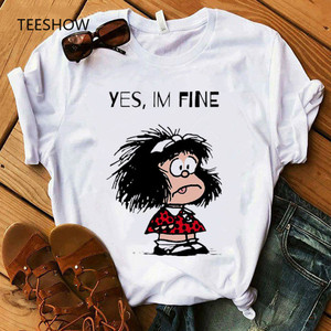 Yes,Im fine Women T-shirt Print cute cartoon Graphic Tee Women Tshirt Fashion Short Sleeve Casual White Top T-shirt Clothes