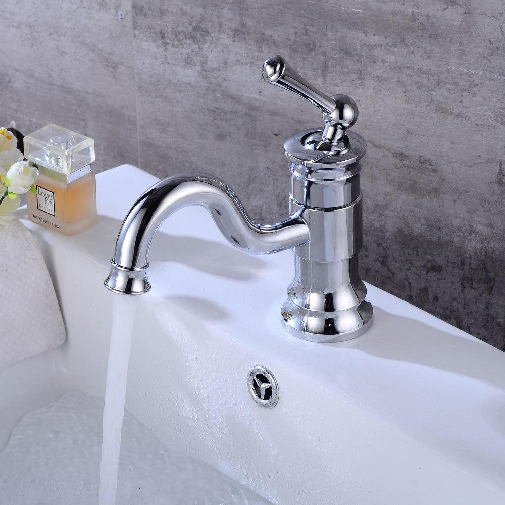 Basin Faucet chrome bathroom Sink Faucet Single Handle Hole Deck Vintage Wash Hot Cold Mixer Tap Crane