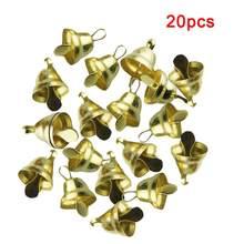 20 pçs/pçs/set clássico sinos de natal ouro jingle mini árvore de natal pendurado ornamentos 11mm natal decoração do ano novo