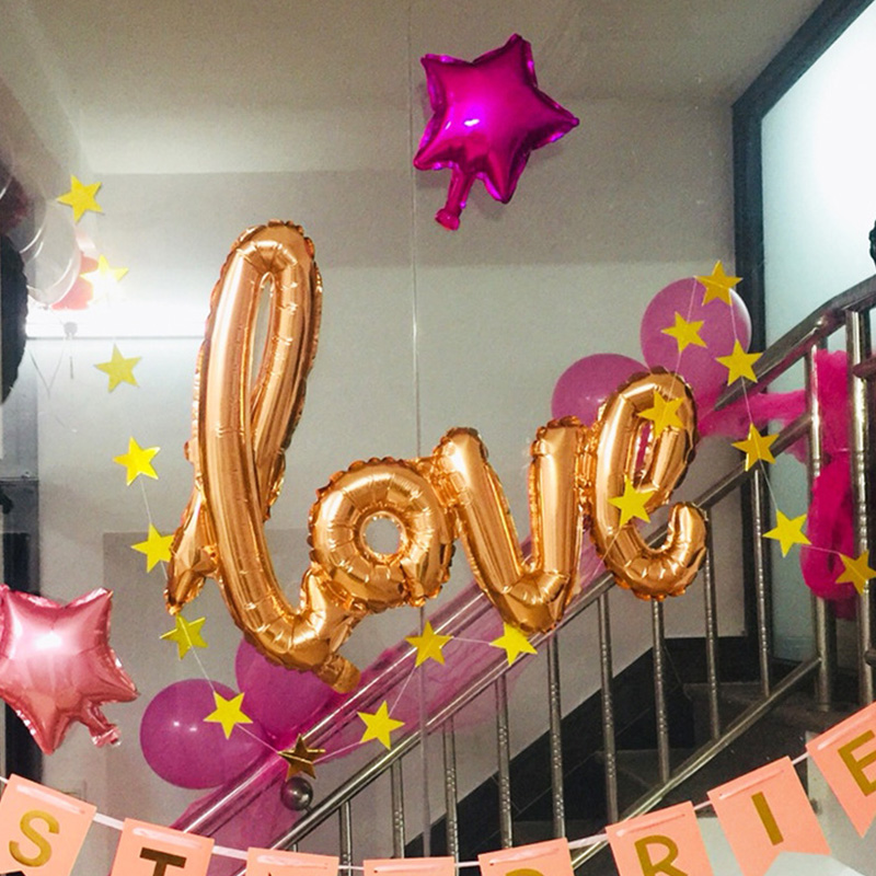 106cm*65cm Colorful LOVE Aluminum Film Balloon Wedding Hotel Banquet Site Decoration Balloon Decoration Party Decorations