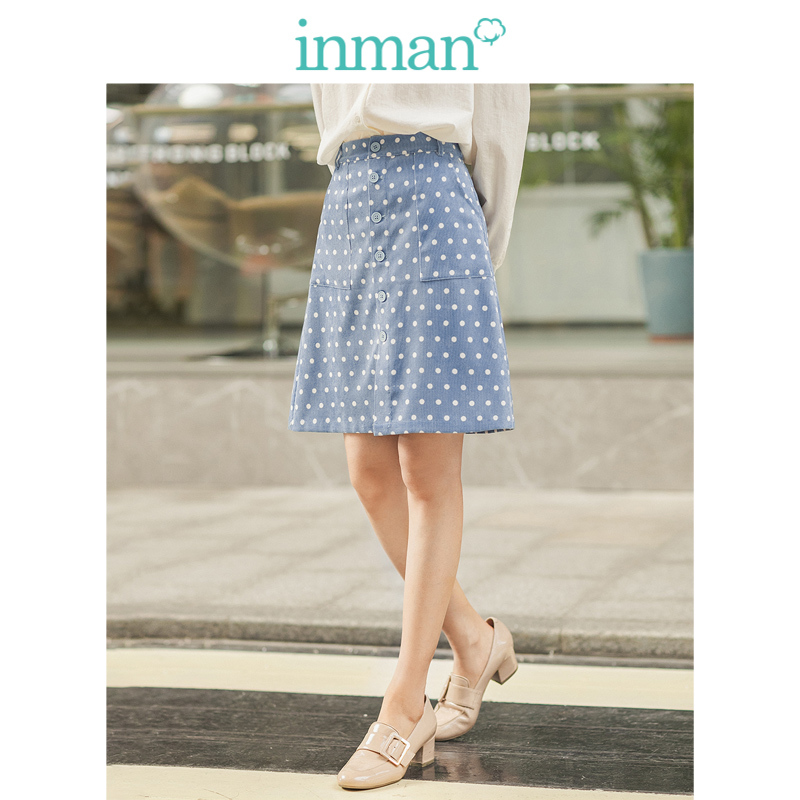 INMAN Winter Literary Pocket A-line Slim Point Women Medium Skirt