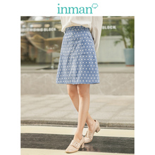 INMAN 겨울 문학 포켓 a 라인 슬림 포인트 여성 Medium Skirt